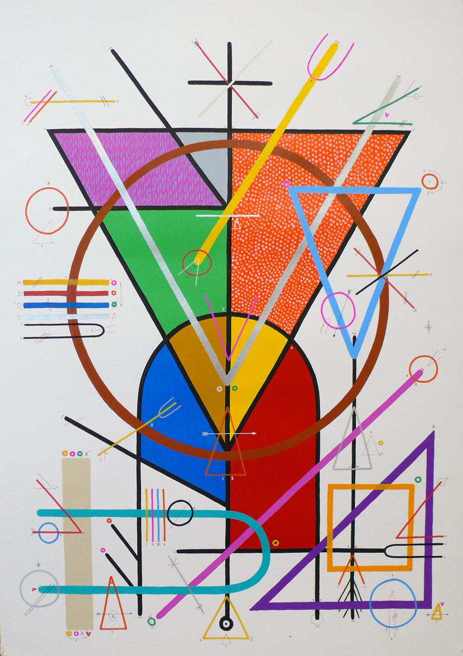 """""""Cosmovision 0"""", 2010 Técnica mixta sobre papel. 100 x 70 cms."""