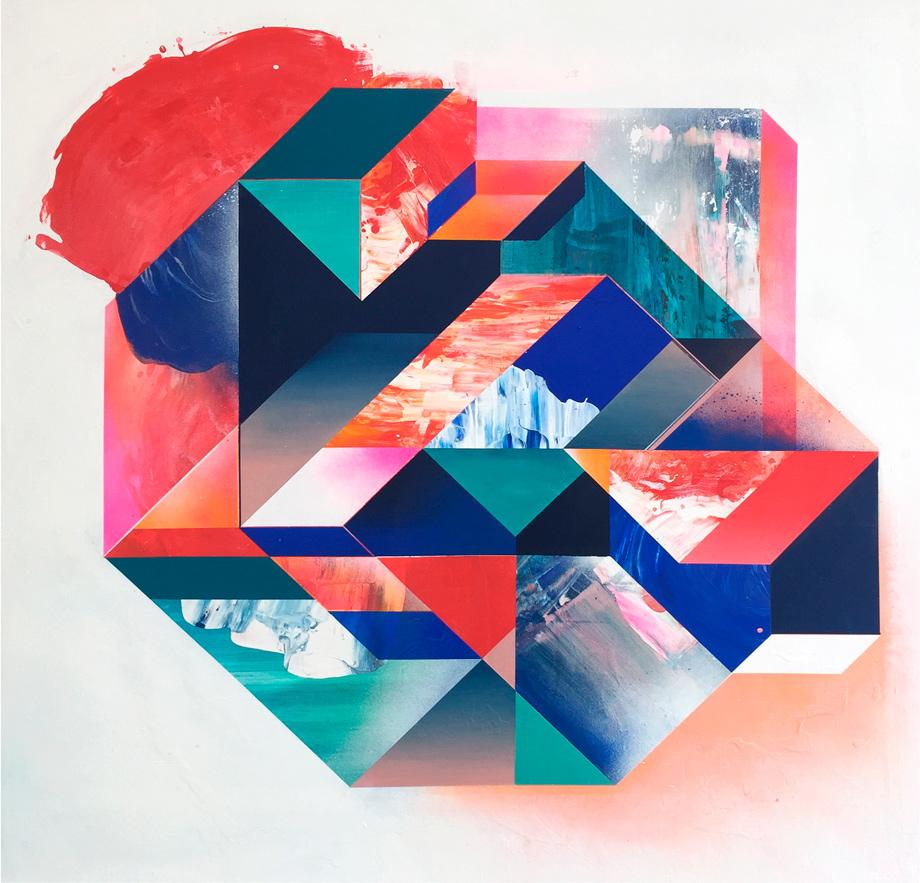 """""""Variable de decisión"""" 130x 130 cm pintura acrílica sobre lienzo, 2018."""