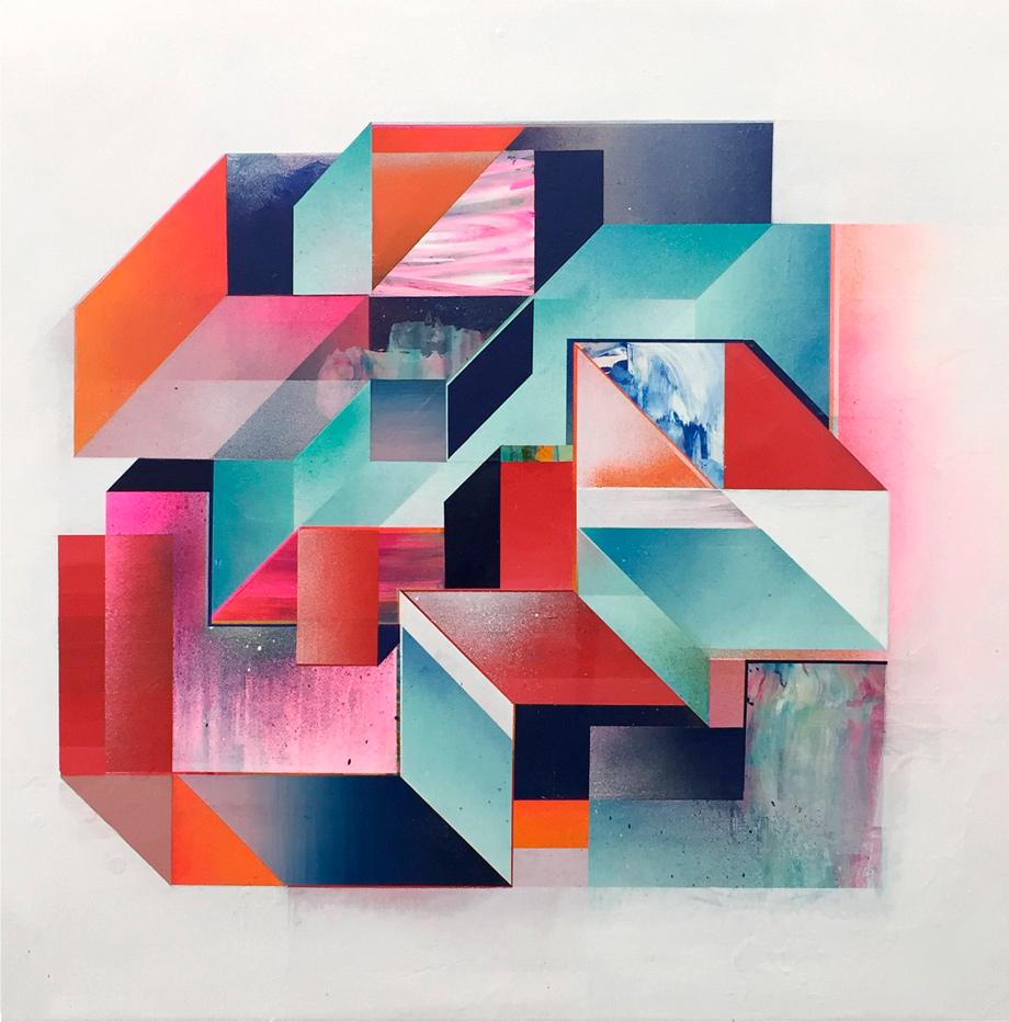 """Intervalo #01"" 75x75cm. pintura acrílica sobre lienzo. 2018."